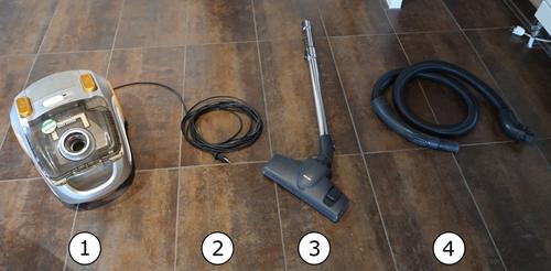 Les différentes parties de l'aspirateur
